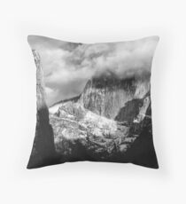 In the clouds, Half Dome, Yosemite, California Throw Pillow