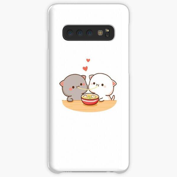 Peach and Goma Mochi Cat Eating Ramen Samsung Galaxy Snap Case