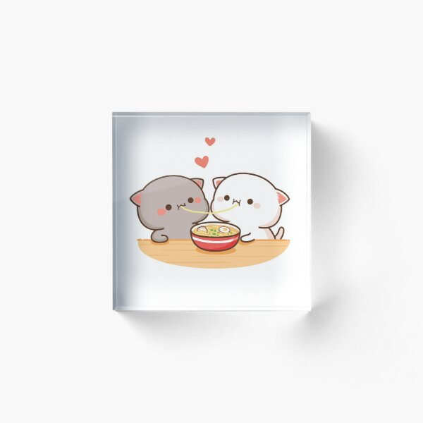 Peach and Goma Mochi Cat Eating Ramen Acrylic Block