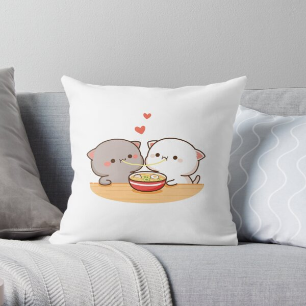 Peach and Goma Mochi Cat Eating Ramen Throw Pillow