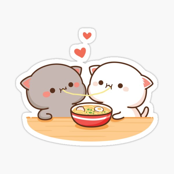 Peach and Goma Mochi Cat Eating Ramen Sticker