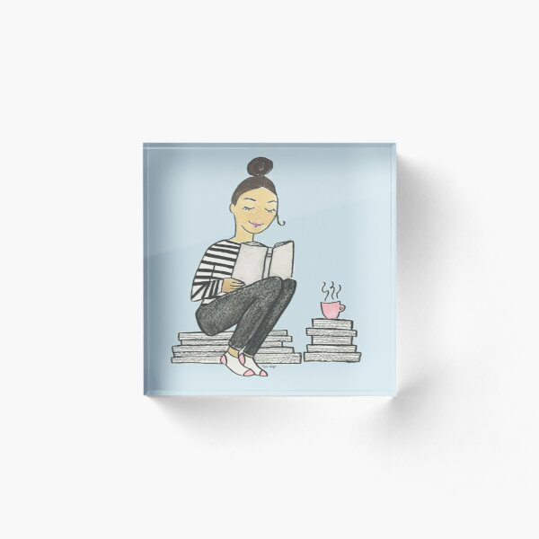Book Worm Acrylic Block