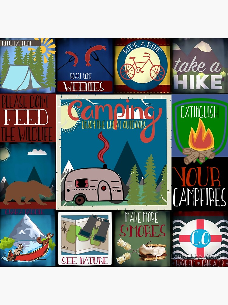 Retro Camping Badges Pattern by crazycanonmom