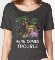 Here Comes Trouble (Text Version) Women's Relaxed Fit T-Shirt