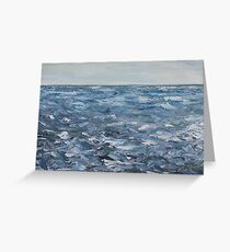 """detail 'Gray on Gray in Blue"""" oil painting MAYNE ISLAND  Greeting Card"""