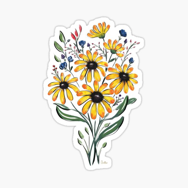 Yellow Bouquet Watercolor and Ink by Annalisa Amato Sticker