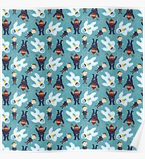 Yukon, Hermey and the Bumble in Teal Poster