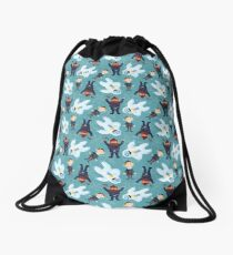 Yukon, Hermey and the Bumble in Teal Drawstring Bag