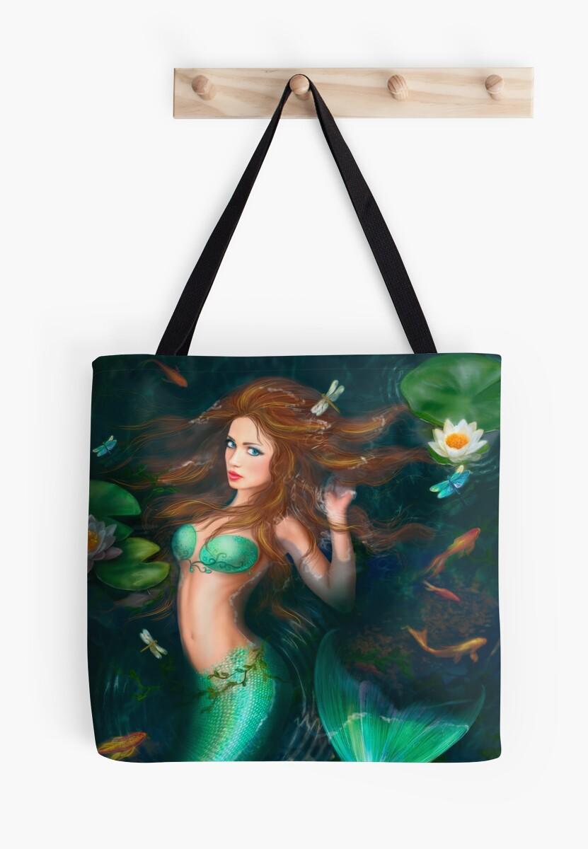 Beautiful Fantasy mermaid in lake with lilies by Alena Lazareva