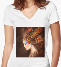Fantasy Portrait beautiful woman butterfly Women's Fitted V-Neck T-Shirt