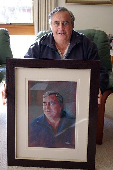 Ken with his Portrait by Lynda Robinson