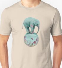 Mauve flowers on turquoise sky background Unisex T-Shirt