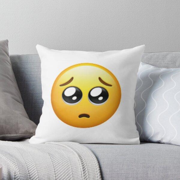 Pleading Face Emoji Throw Pillow