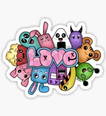 Doodle love - Colors /White Background Sticker