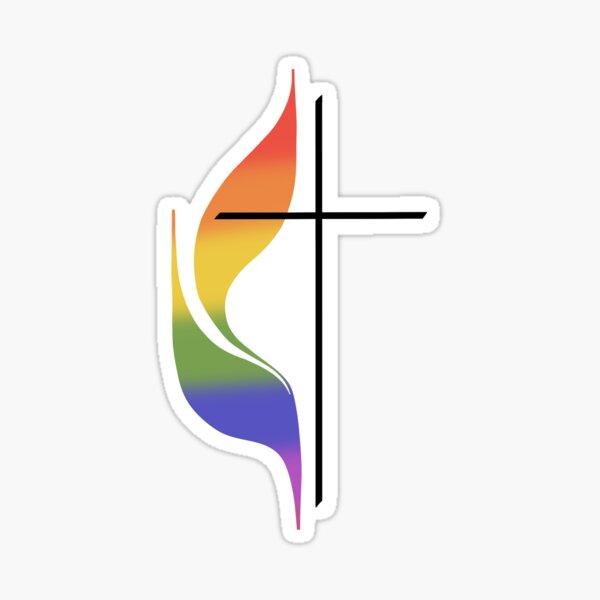 Methodist Flame Rainbow Sticker