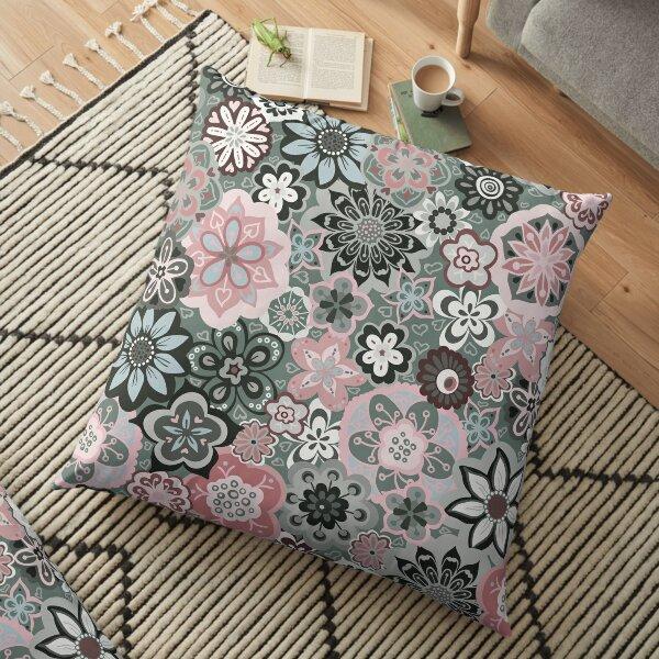 Beautiful Bouquet of Midsummer Blooms in grey and pink Floor Pillow