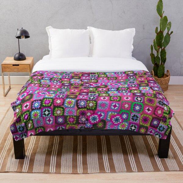 Crochet blanket granny square vintage  Throw Blanket
