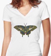 Butterfly Art Women's Fitted V-Neck T-Shirt