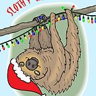 Slothy Christmas, Sloth with Santa Hat by ShoaffBallanger