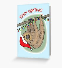 Slothy Christmas, Sloth with Santa Hat Greeting Card