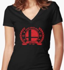 Smash Club (Red) Women's Fitted V-Neck T-Shirt