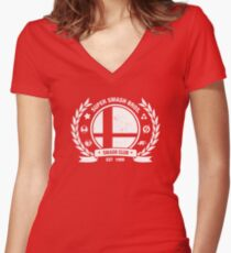 Smash Club (White) Women's Fitted V-Neck T-Shirt