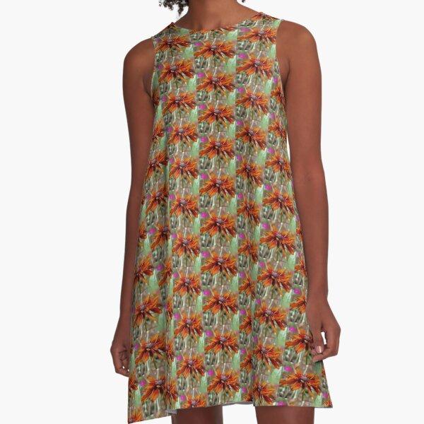 Orange Black Eyed Susan A-Line Dress