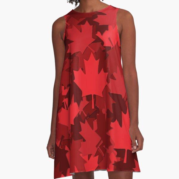 Patriotic Canada Maple Leaf A-Line Dress