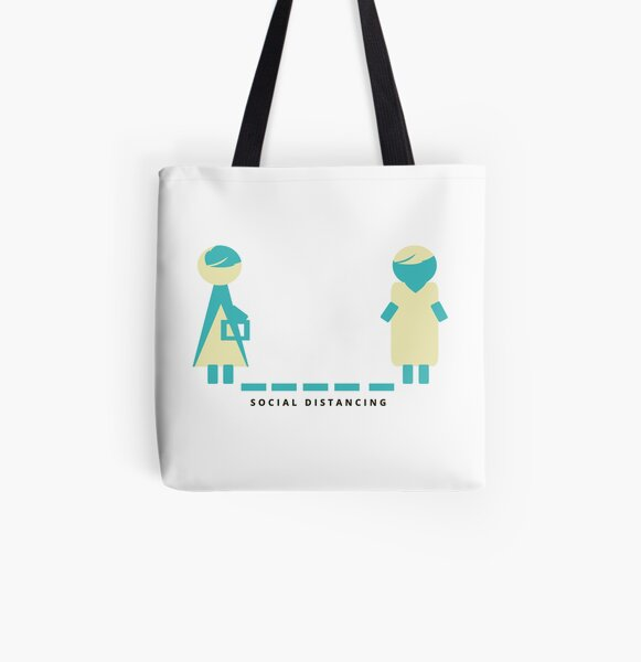 Social Distancing All Over Print Tote Bag