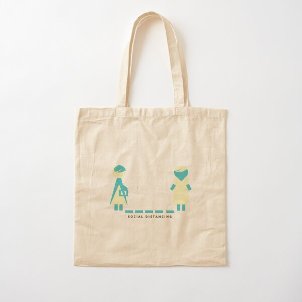 Social Distancing Cotton Tote Bag
