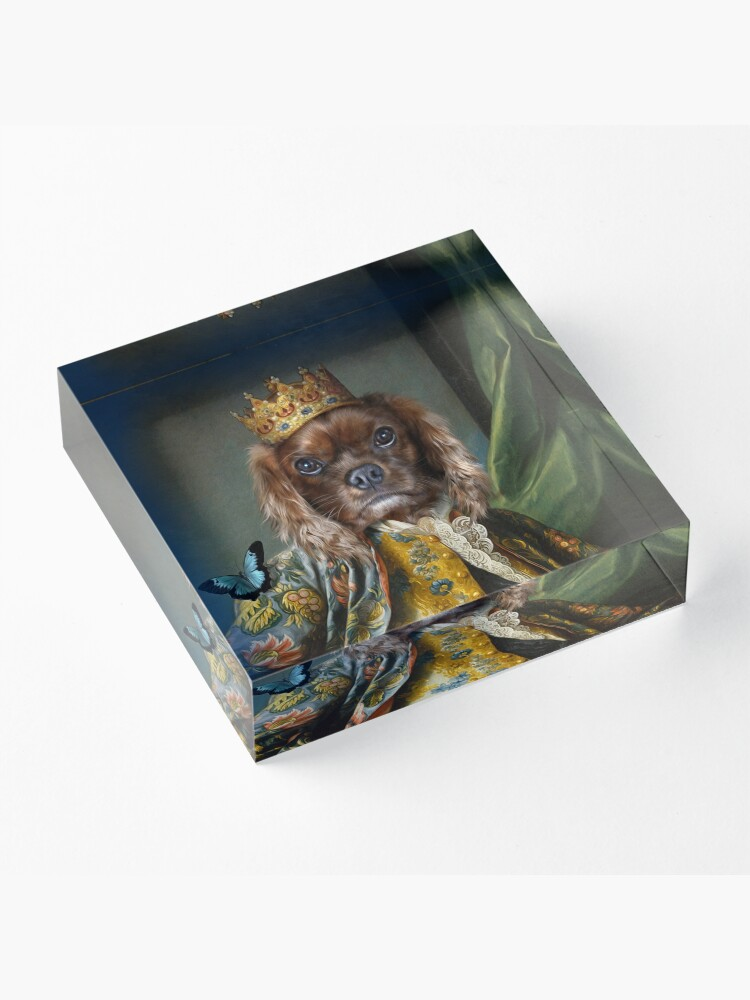 Alternate view of King Charles Spaniel Dog Portrait - Homes Acrylic Block