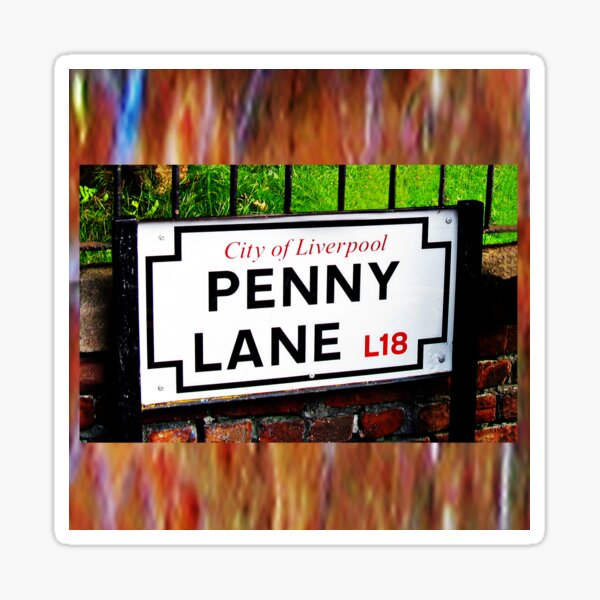 Penny lane Liverpool England sign, famous place and music song title Sticker