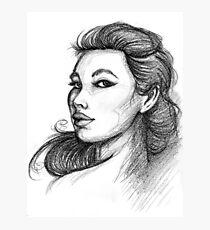 Beautiful Woman Artist Pencil Sketch 1 Photographic Print