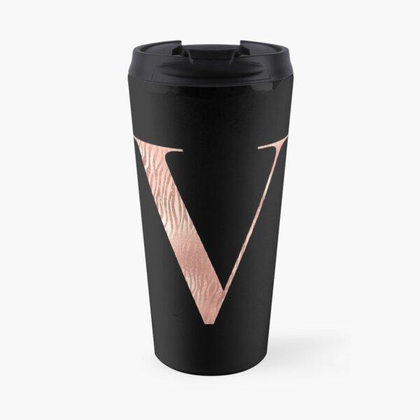 Rose Gold Glitter Monogram V Travel Mug