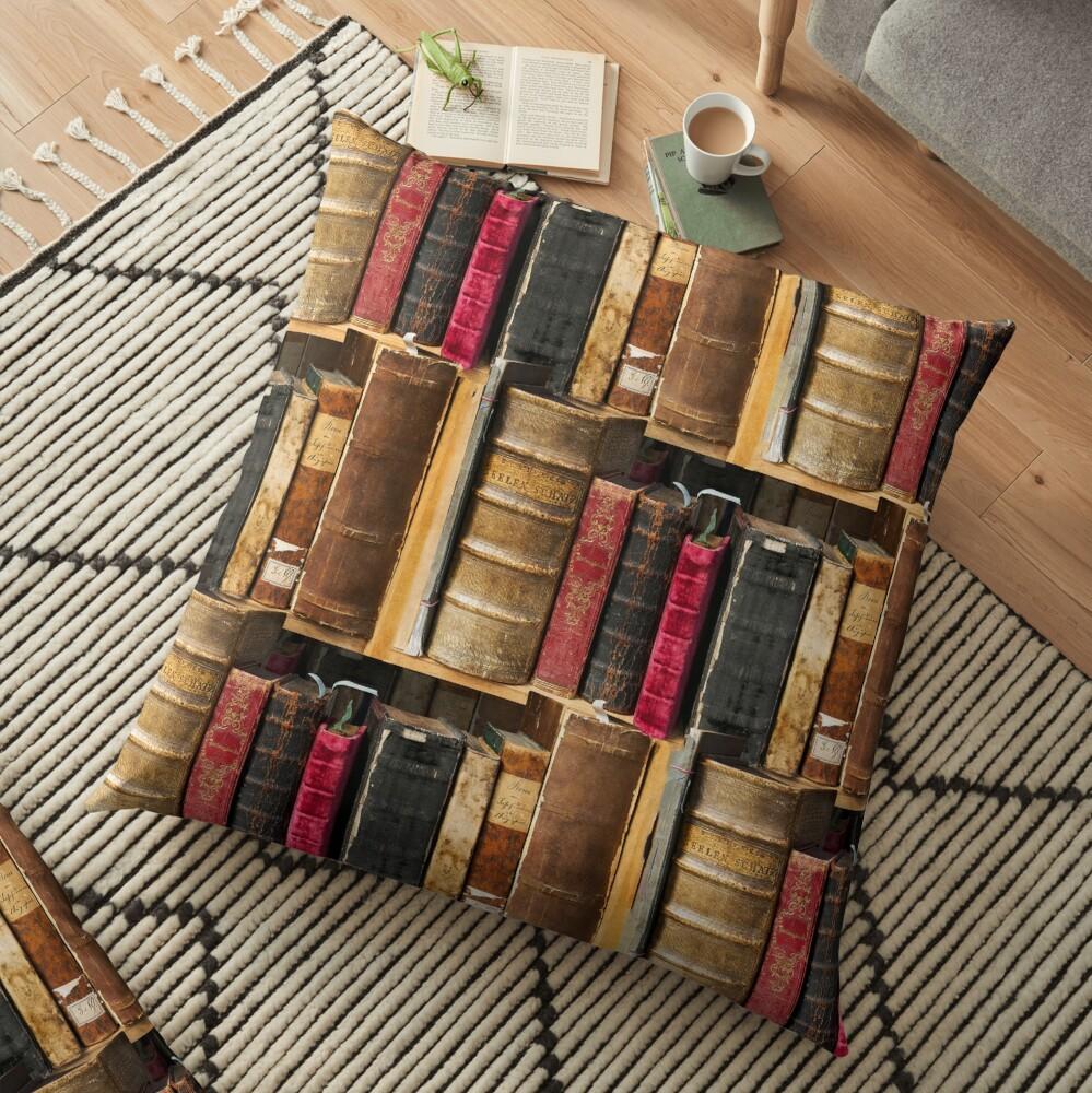 Bookworm Vintage books in bookshelf Floor Pillow