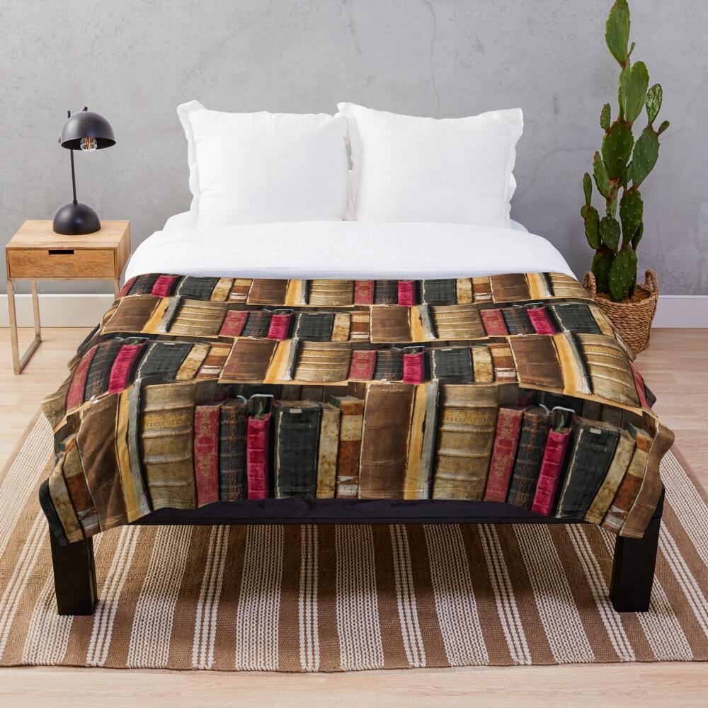 Bookworm Vintage books in bookshelf Throw Blanket