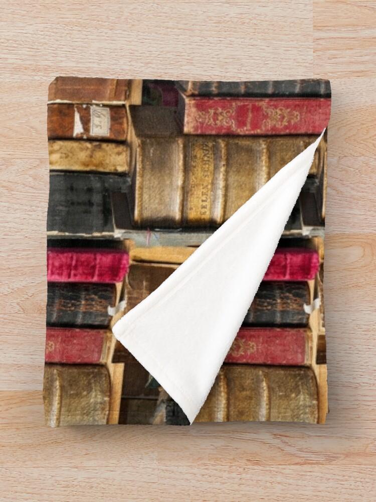 Alternate view of Bookworm Vintage books in bookshelf Throw Blanket