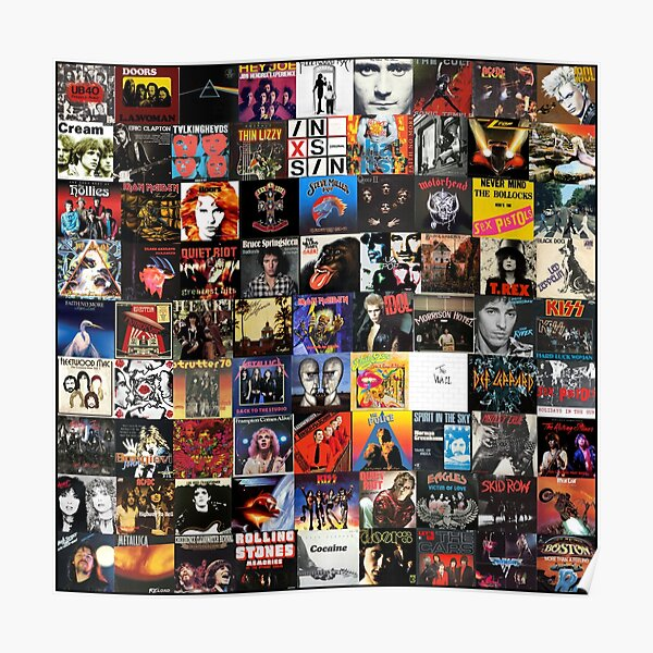 Rock Vinyl Collage  Poster
