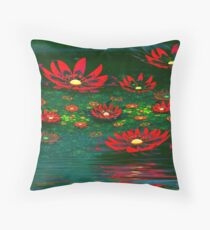 Flowers by the Pond Throw Pillow