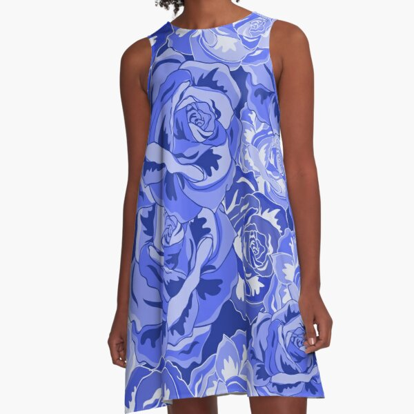 Beautiful blue roses A-Line Dress
