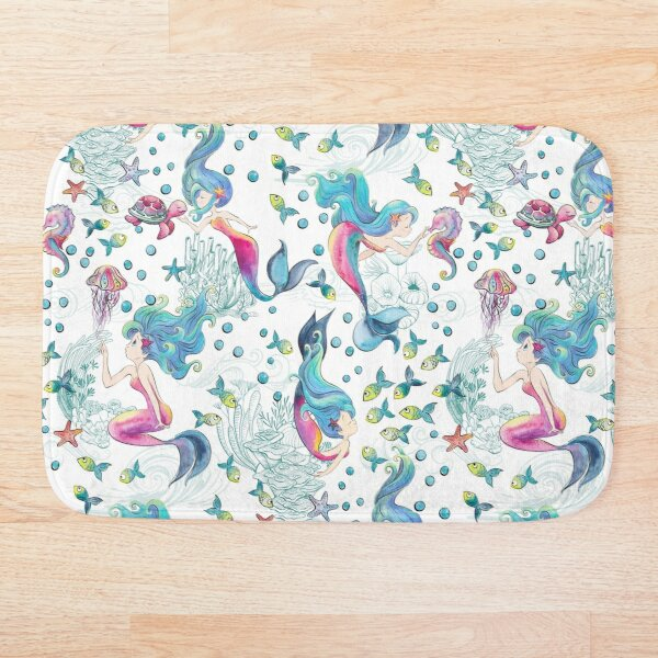 Modern Mermaid Toile Bath Mat