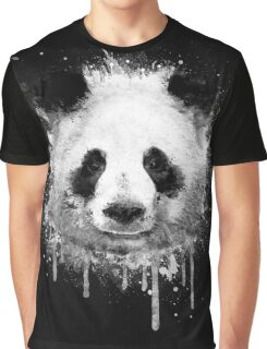 Cool Abstract Graffiti Watercolor Panda Portrait in Black & White  Graphic T-Shirt