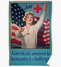 Join Red Cross symbol Americas answer to humanitys challenge Poster