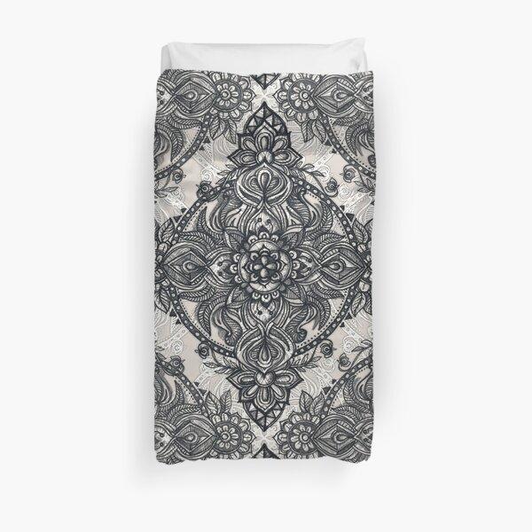 Charcoal Lace Pencil Doodle Duvet Cover