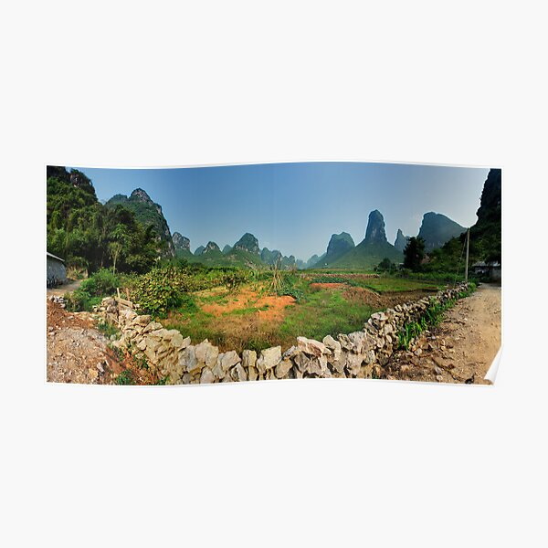 Peaceful valley near Yangshuo Poster