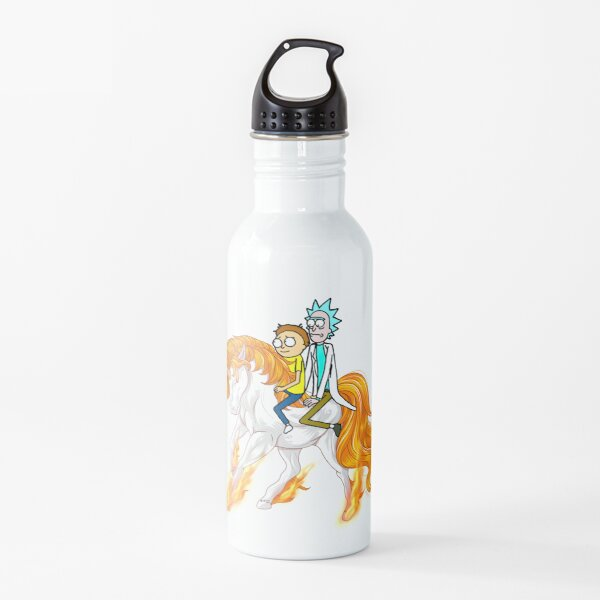 Rick and Morty Riding A Unicorn Water Bottle