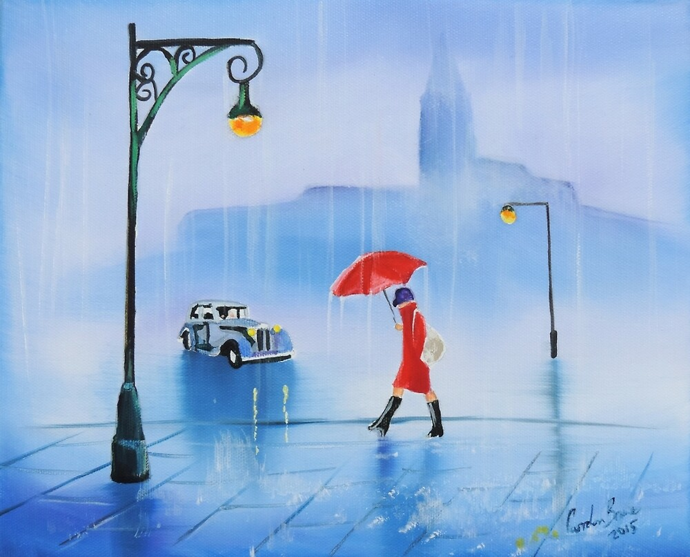 Woman with a red umbrella rainy day painting by GORDON BRUCE ART