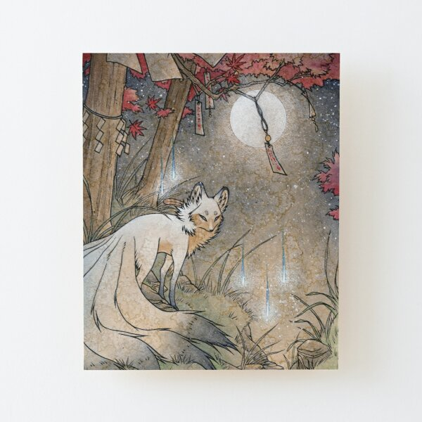Fox & Wisps - Kitsune Yokai Foxfire  Wood Mounted Print
