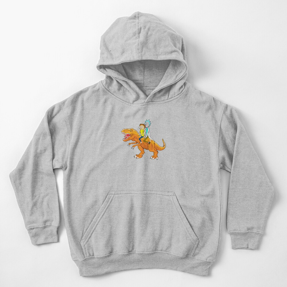 Rick and Morty Riding A dinosaur Kids Pullover Hoodie