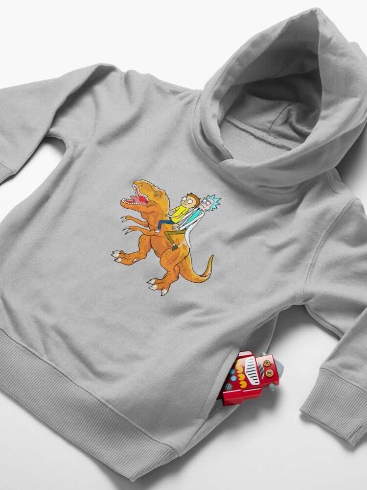 Alternate view of Rick and Morty Riding A dinosaur Toddler Pullover Hoodie